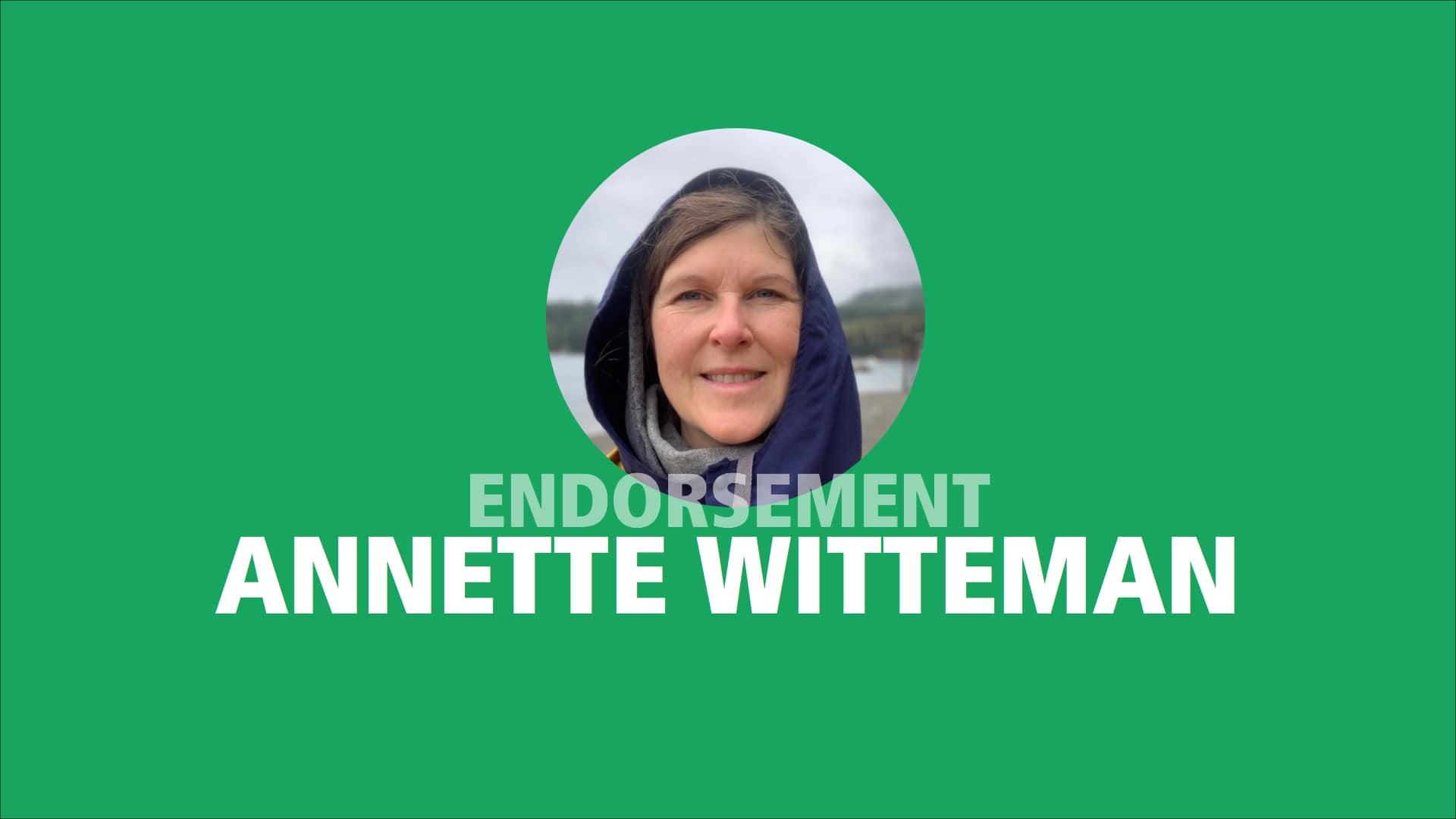 Annette Witteman endorses Adam Olsen