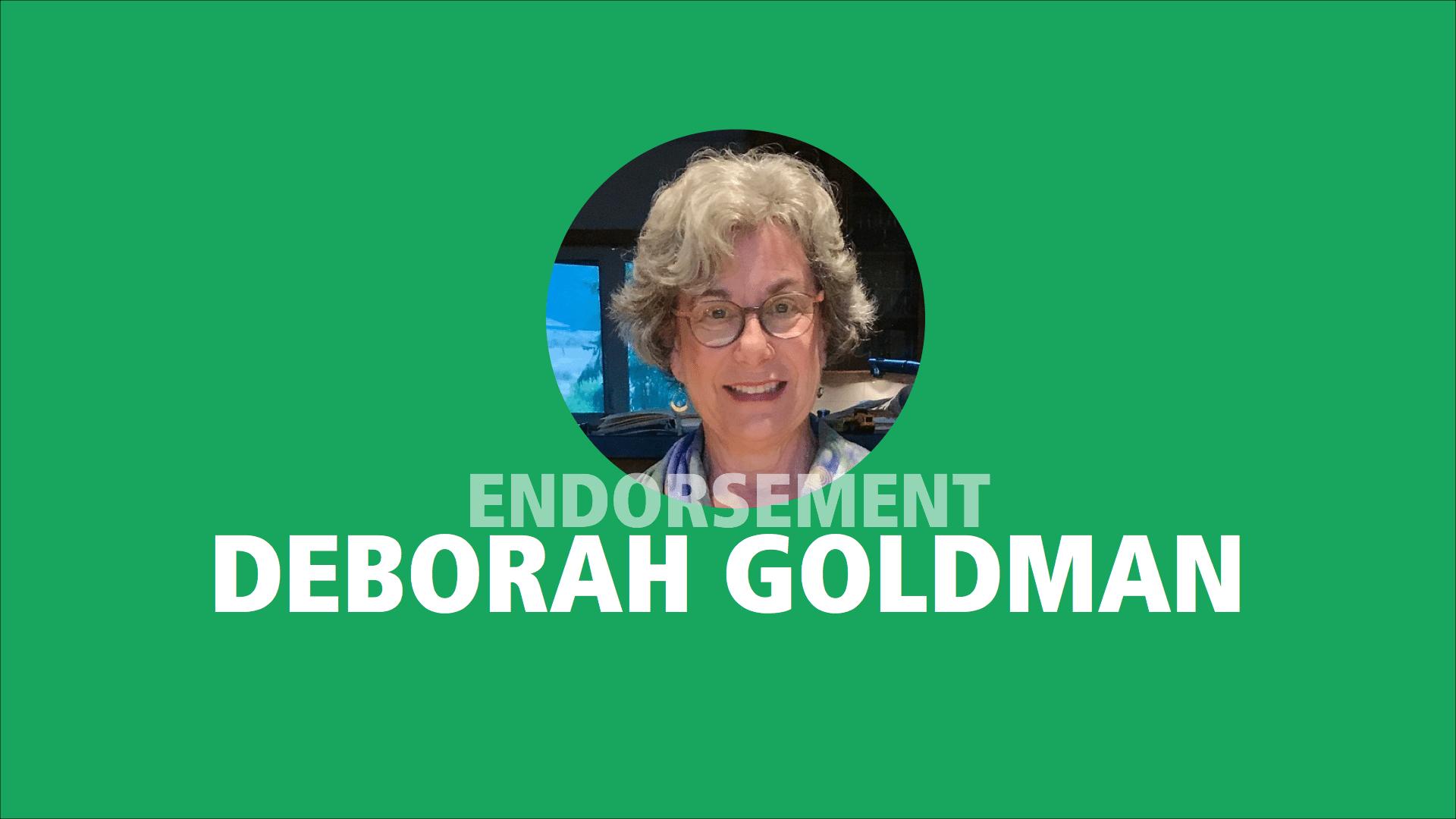 Deborah Goldman endorses Adam Olsen